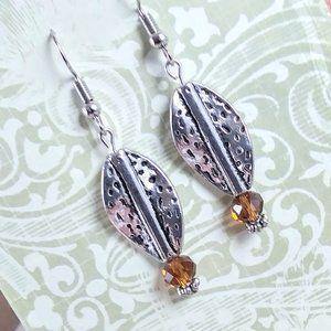 Autumn Crystal Leaf Earrings